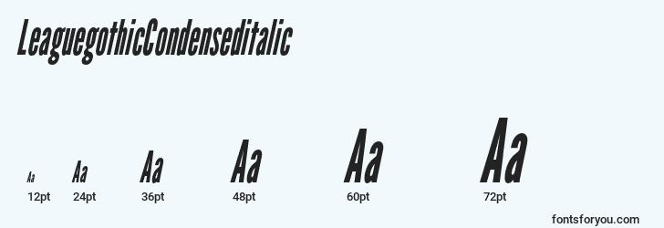 sizes of leaguegothiccondenseditalic font, leaguegothiccondenseditalic sizes
