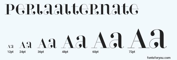 sizes of perlaalternate font, perlaalternate sizes