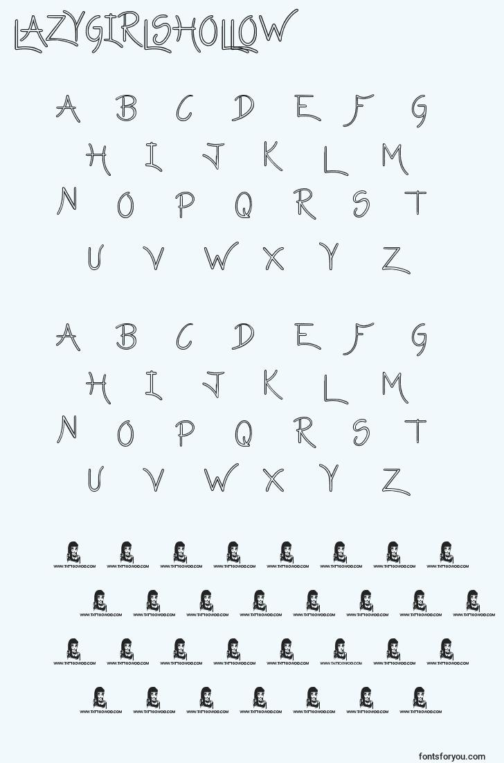 characters of lazygirlshollow font, letter of lazygirlshollow font, alphabet of  lazygirlshollow font