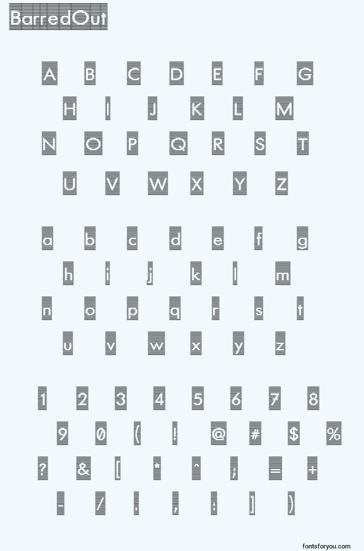 characters of barredout font, letter of barredout font, alphabet of  barredout font