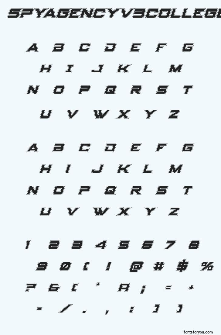 characters of spyagencyv3collegeital font, letter of spyagencyv3collegeital font, alphabet of  spyagencyv3collegeital font