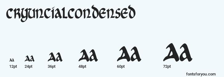 sizes of cryuncialcondensed font, cryuncialcondensed sizes
