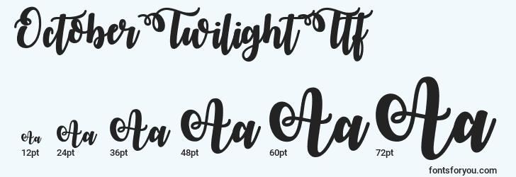 sizes of octobertwilightttf font, octobertwilightttf sizes