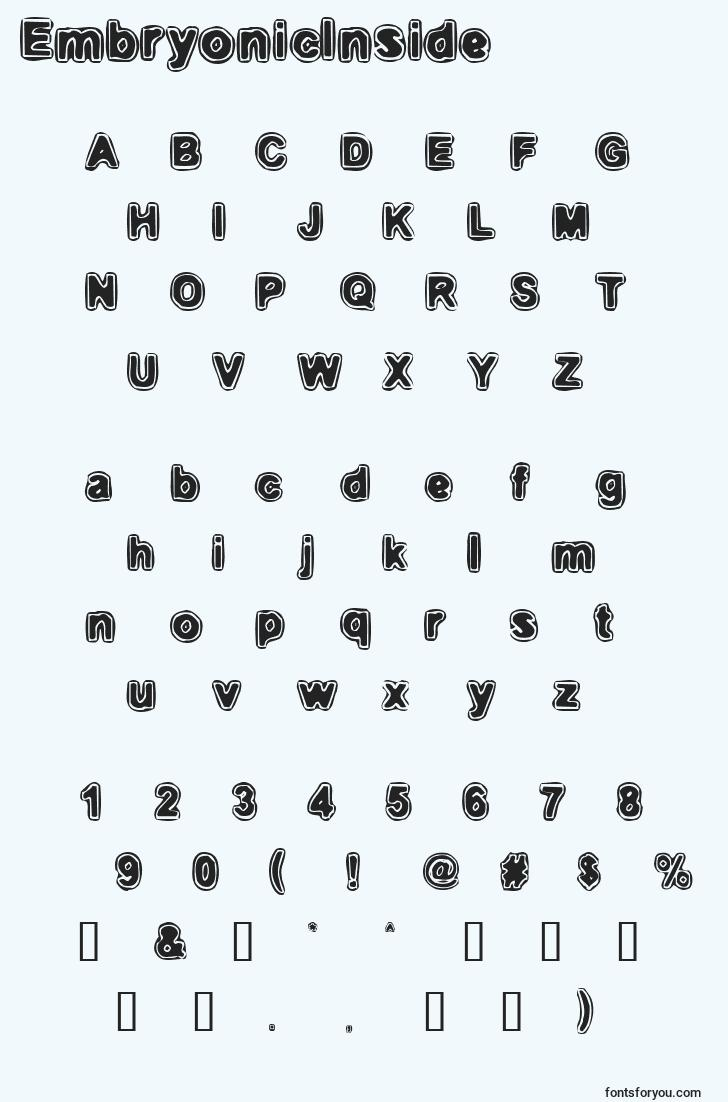 characters of embryonicinside font, letter of embryonicinside font, alphabet of  embryonicinside font