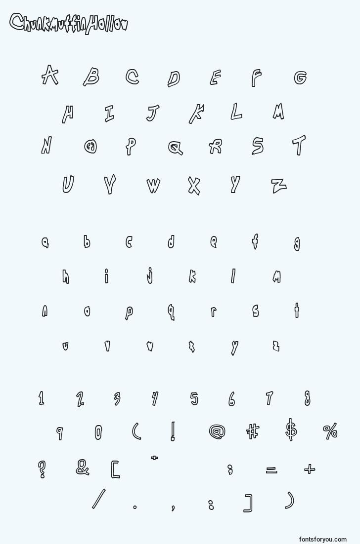 characters of chunkmuffinhollow font, letter of chunkmuffinhollow font, alphabet of  chunkmuffinhollow font