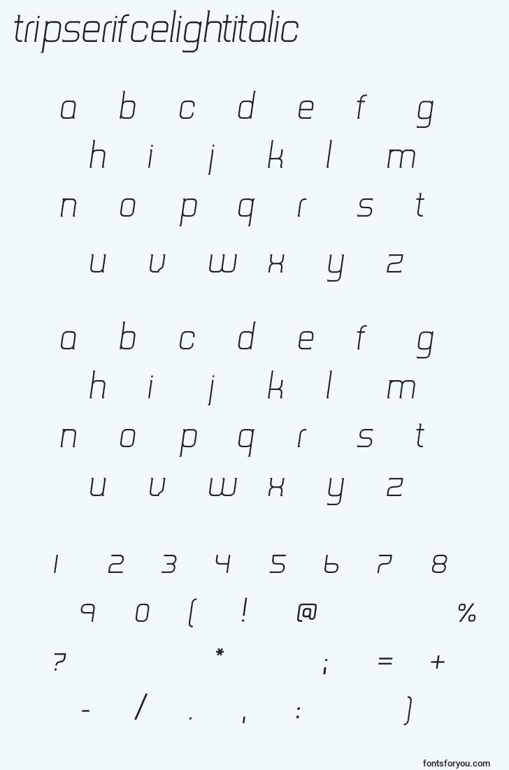 characters of tripserifcelightitalic font, letter of tripserifcelightitalic font, alphabet of  tripserifcelightitalic font