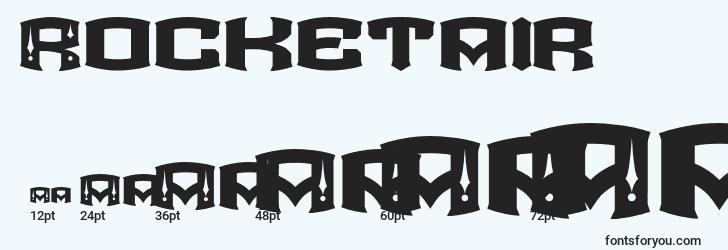 sizes of rocketair font, rocketair sizes