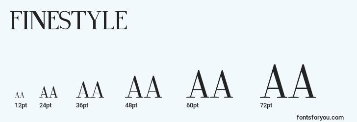 sizes of finestyle font, finestyle sizes