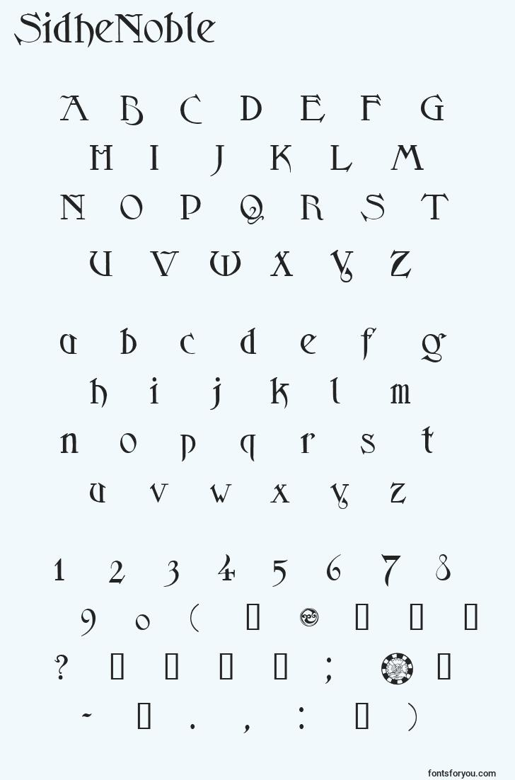 characters of sidhenoble font, letter of sidhenoble font, alphabet of  sidhenoble font