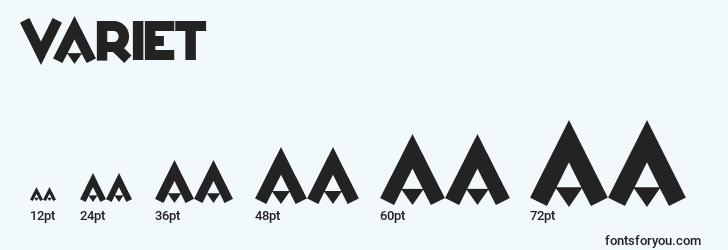sizes of varietв font, varietв sizes