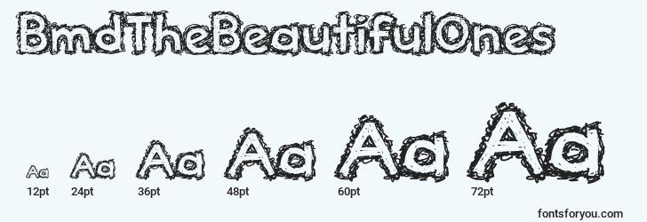sizes of bmdthebeautifulones font, bmdthebeautifulones sizes