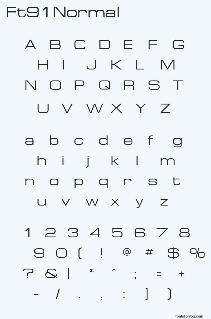 characters of ft91normal font, letter of ft91normal font, alphabet of  ft91normal font