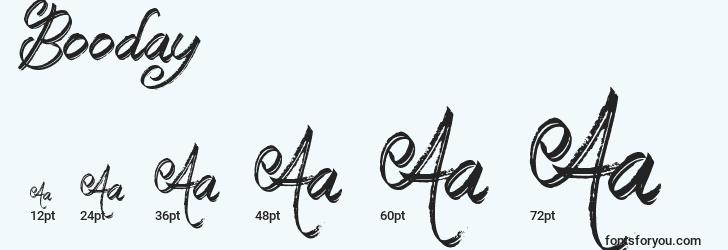 sizes of booday font, booday sizes