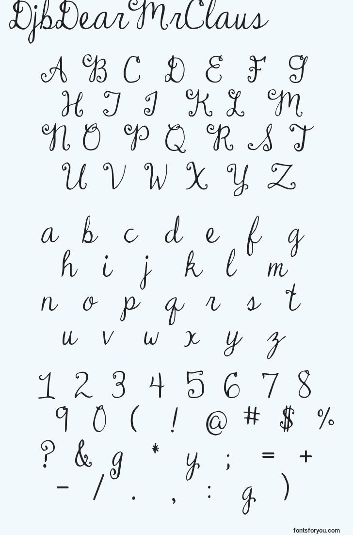 characters of djbdearmrclaus font, letter of djbdearmrclaus font, alphabet of  djbdearmrclaus font