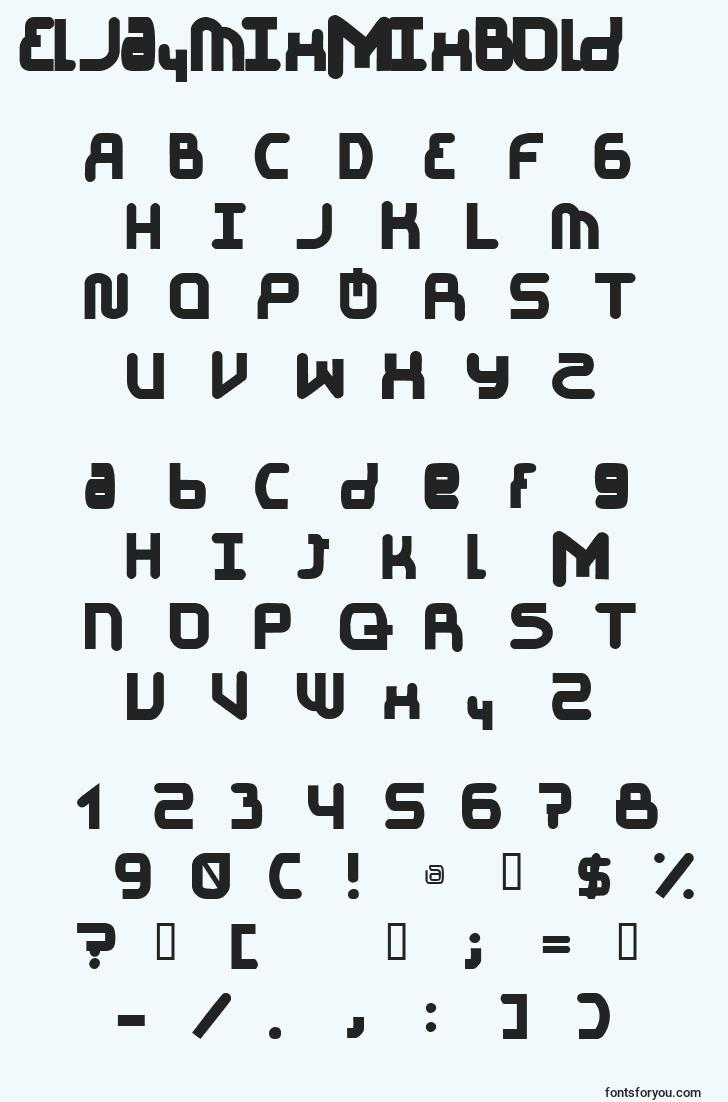 characters of eljaymixmixbold font, letter of eljaymixmixbold font, alphabet of  eljaymixmixbold font