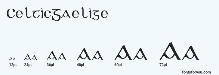 sizes of celticgaelige font, celticgaelige sizes