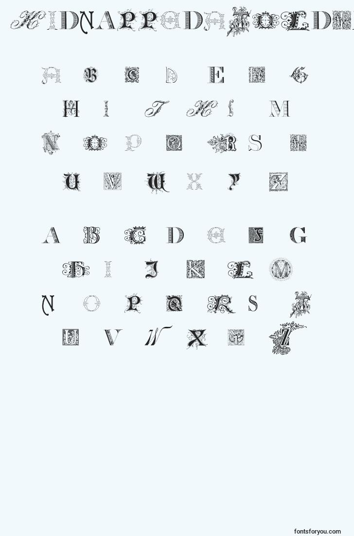 characters of kidnappedatoldtimesfree font, letter of kidnappedatoldtimesfree font, alphabet of  kidnappedatoldtimesfree font
