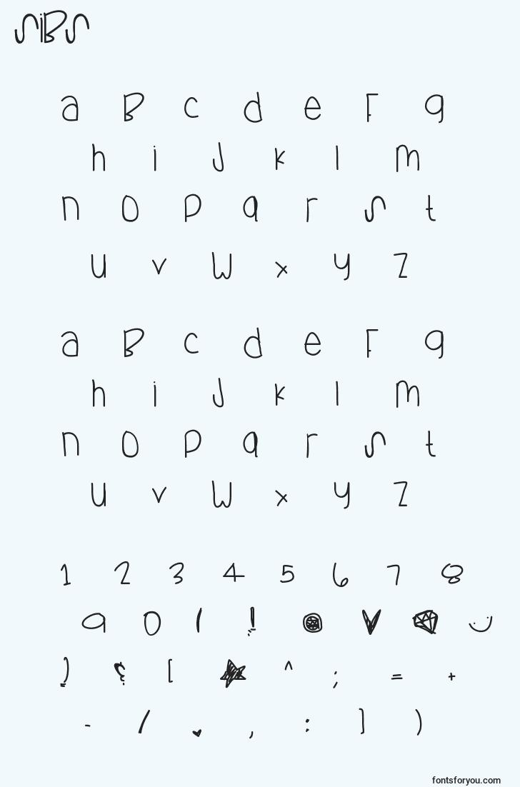characters of sibs font, letter of sibs font, alphabet of  sibs font