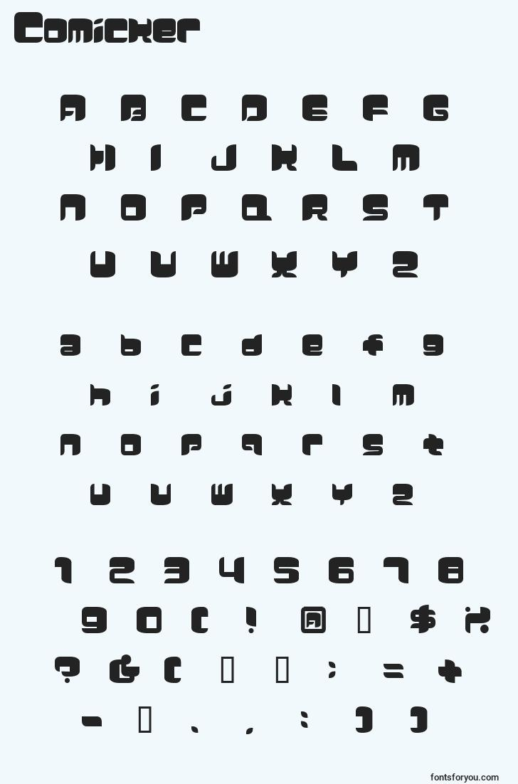 characters of comicker font, letter of comicker font, alphabet of  comicker font