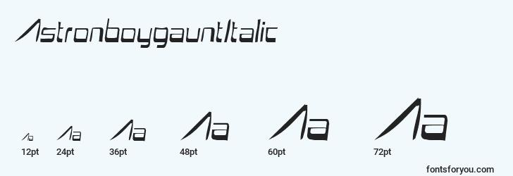 sizes of astronboygauntitalic font, astronboygauntitalic sizes