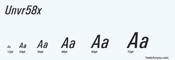 sizes of unvr58x font, unvr58x sizes