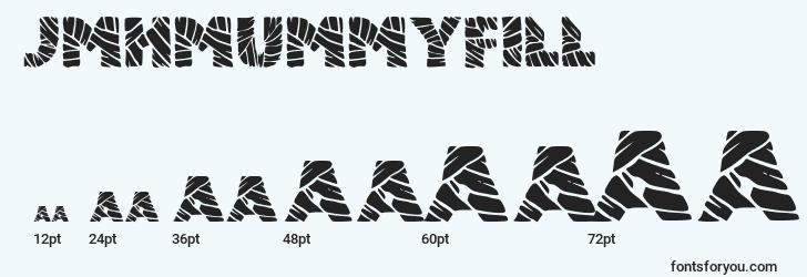 sizes of jmhmummyfill font, jmhmummyfill sizes