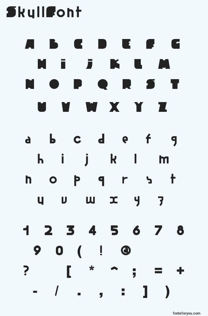 characters of skullfont font, letter of skullfont font, alphabet of  skullfont font