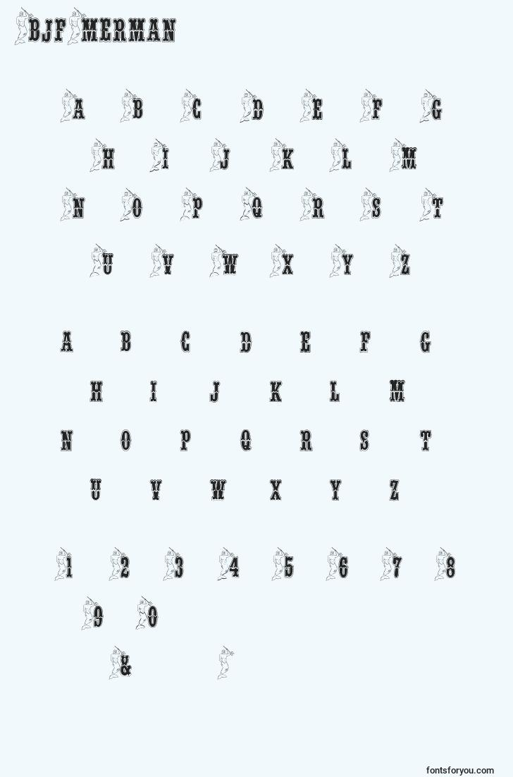 characters of bjfmerman font, letter of bjfmerman font, alphabet of  bjfmerman font
