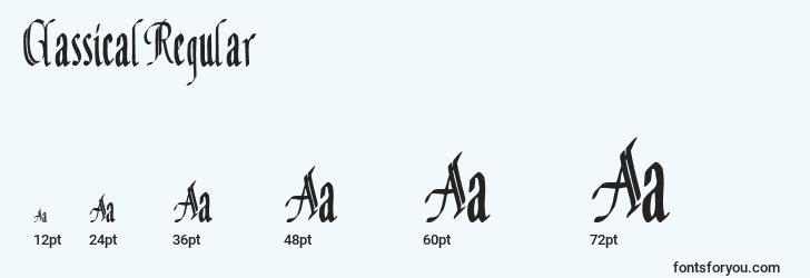 sizes of classicalregular font, classicalregular sizes