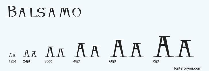 sizes of balsamo font, balsamo sizes