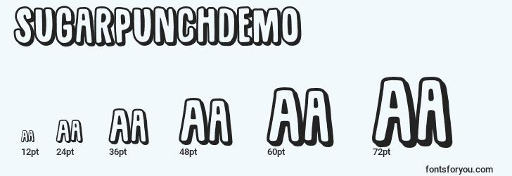 sizes of sugarpunchdemo font, sugarpunchdemo sizes