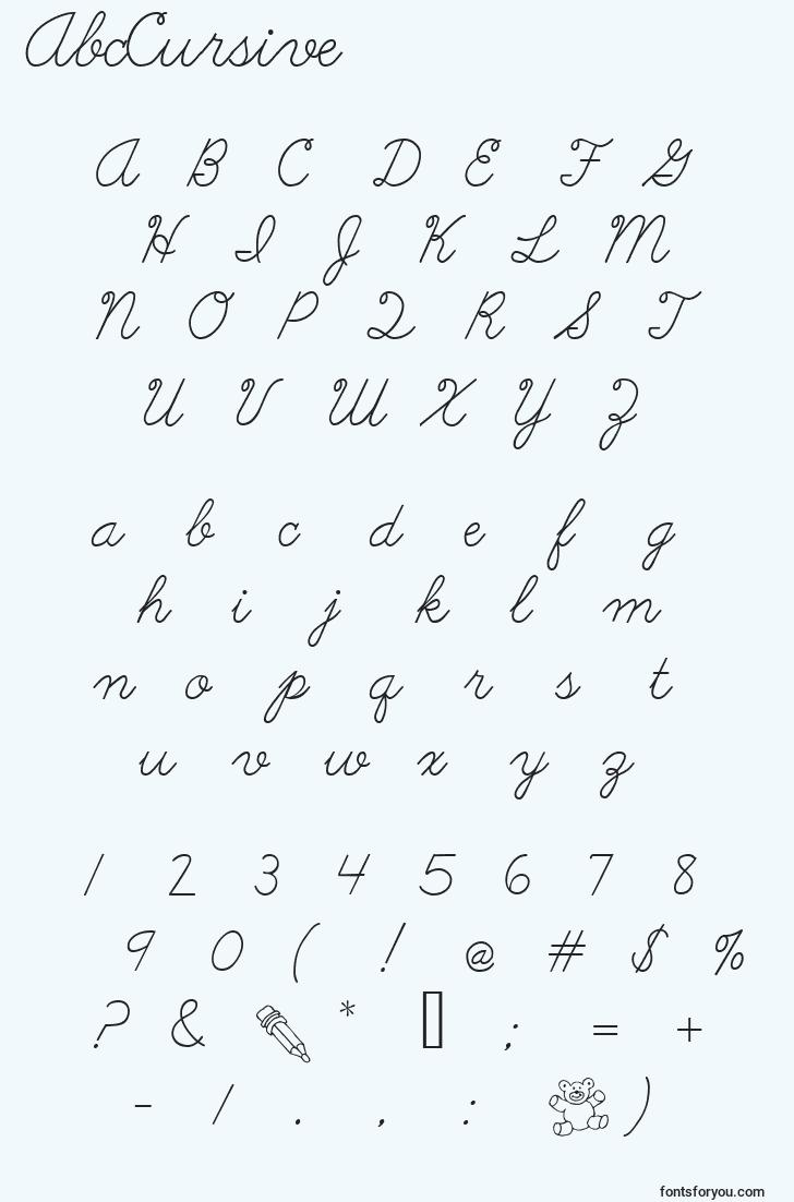 characters of abccursive font, letter of abccursive font, alphabet of  abccursive font