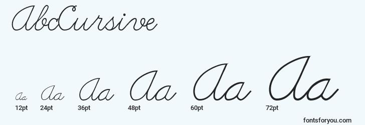 sizes of abccursive font, abccursive sizes