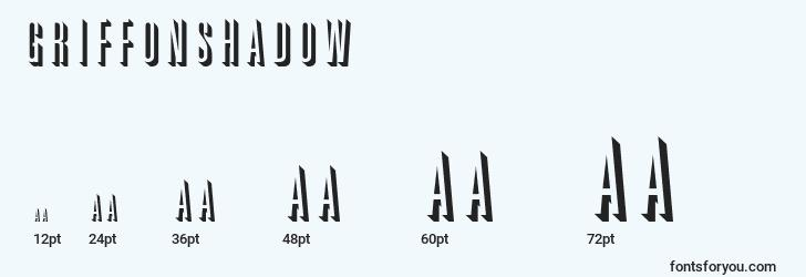 sizes of griffonshadow font, griffonshadow sizes