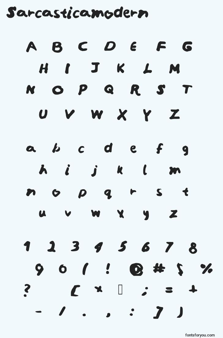 characters of sarcasticamodern font, letter of sarcasticamodern font, alphabet of  sarcasticamodern font