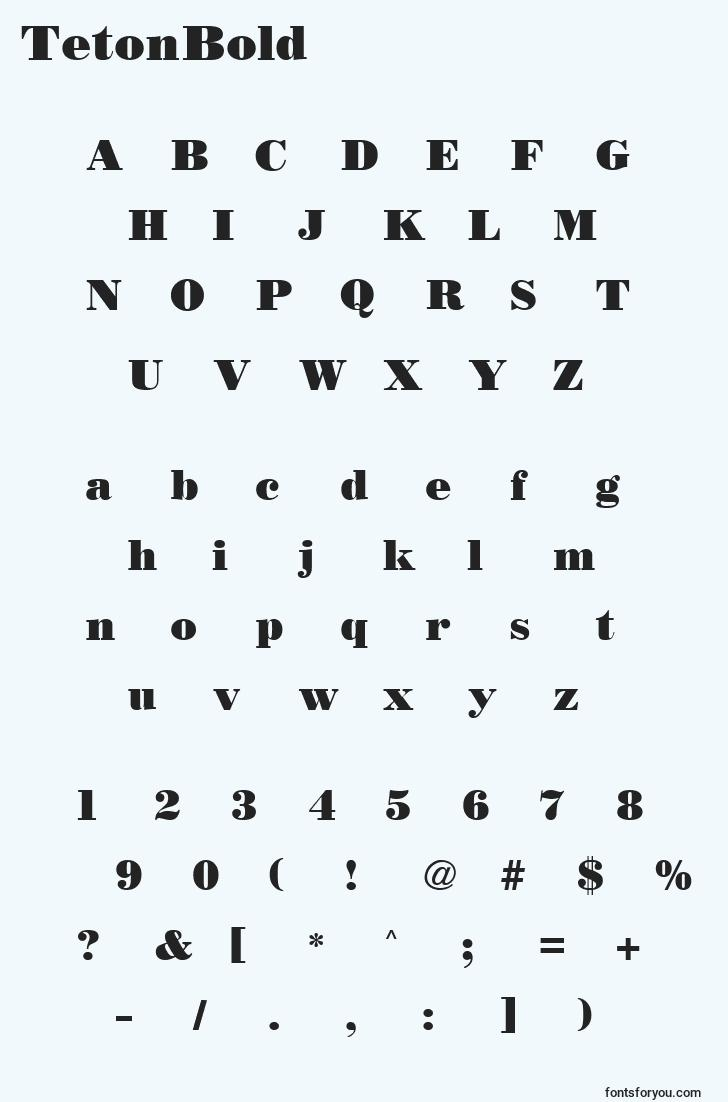 characters of tetonbold font, letter of tetonbold font, alphabet of  tetonbold font