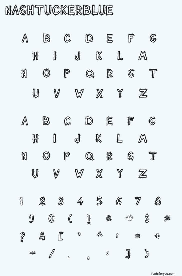 characters of nashtuckerblue font, letter of nashtuckerblue font, alphabet of  nashtuckerblue font