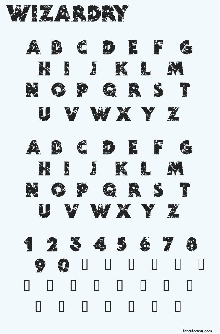 characters of wizardry font, letter of wizardry font, alphabet of  wizardry font