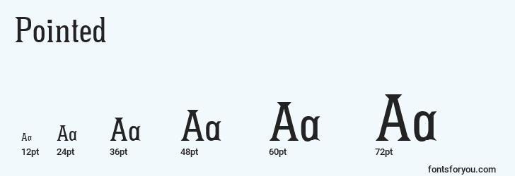 sizes of pointed font, pointed sizes