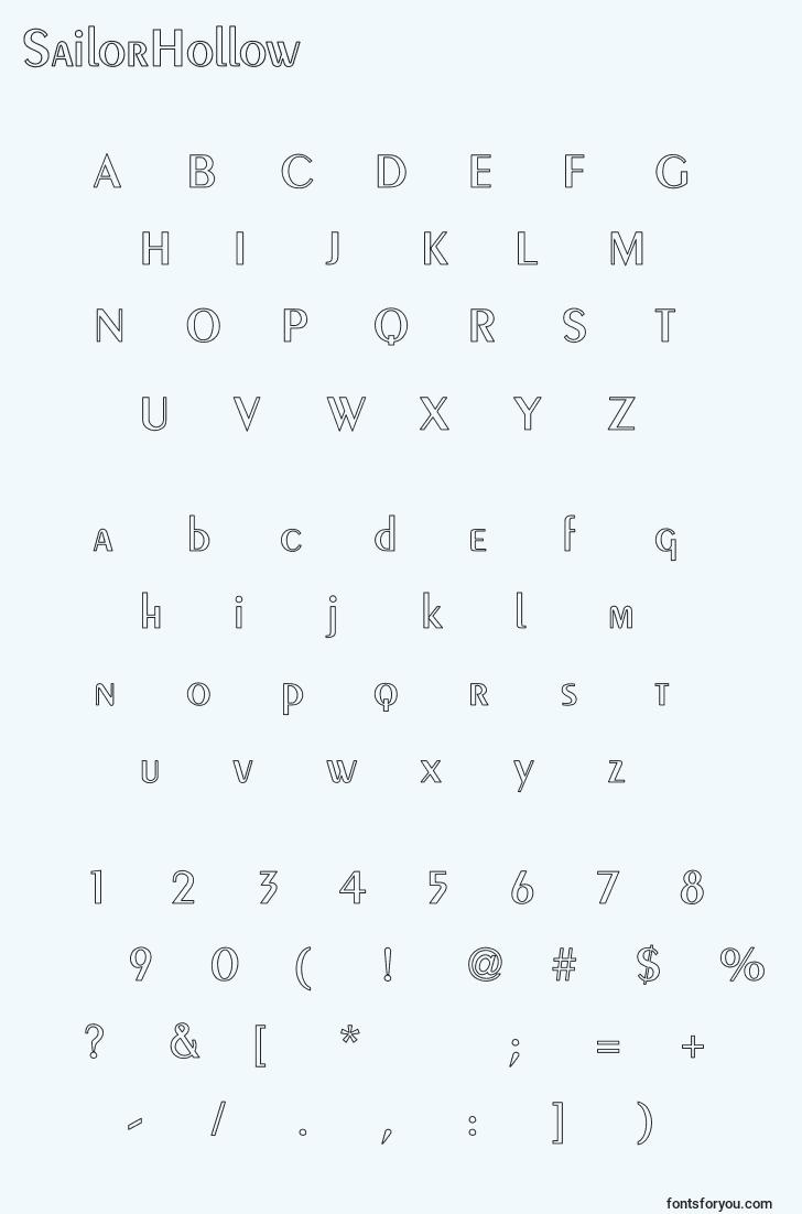 characters of sailorhollow font, letter of sailorhollow font, alphabet of  sailorhollow font