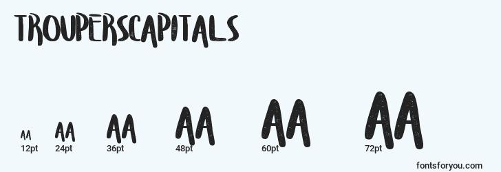 sizes of trouperscapitals font, trouperscapitals sizes