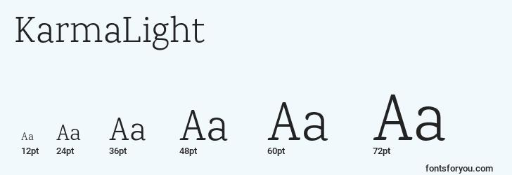sizes of karmalight font, karmalight sizes