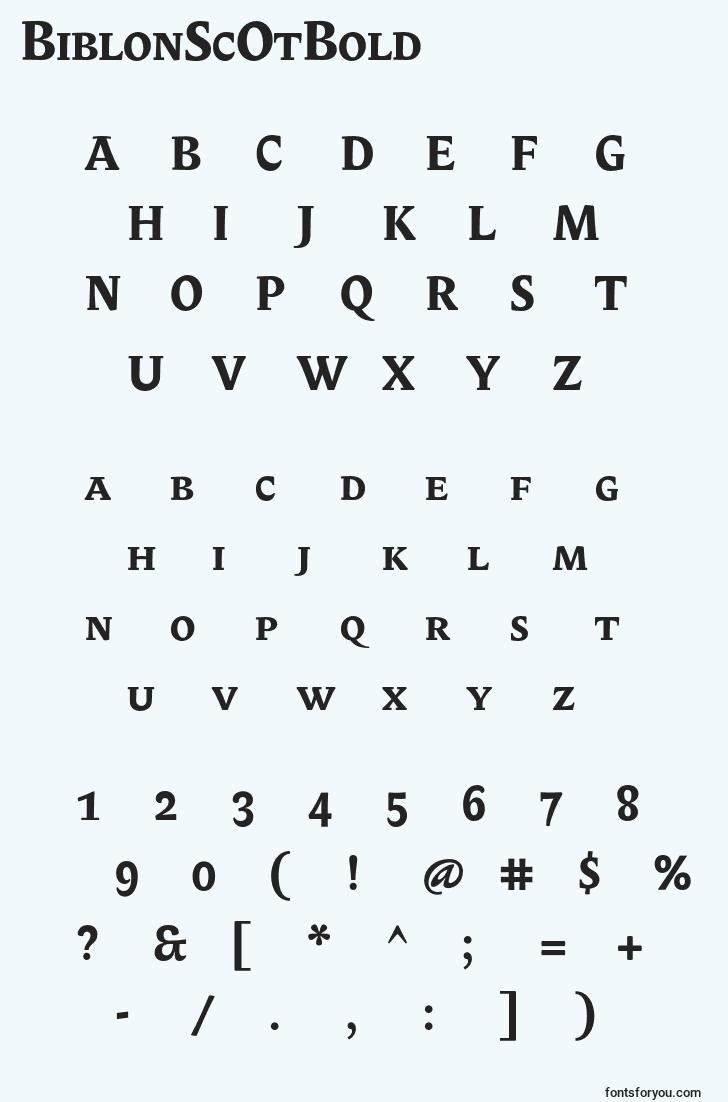 characters of biblonscotbold font, letter of biblonscotbold font, alphabet of  biblonscotbold font