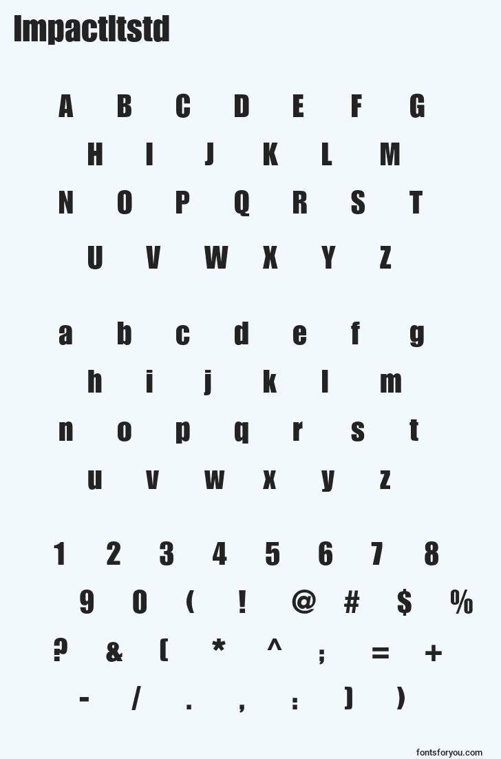characters of impactltstd font, letter of impactltstd font, alphabet of  impactltstd font
