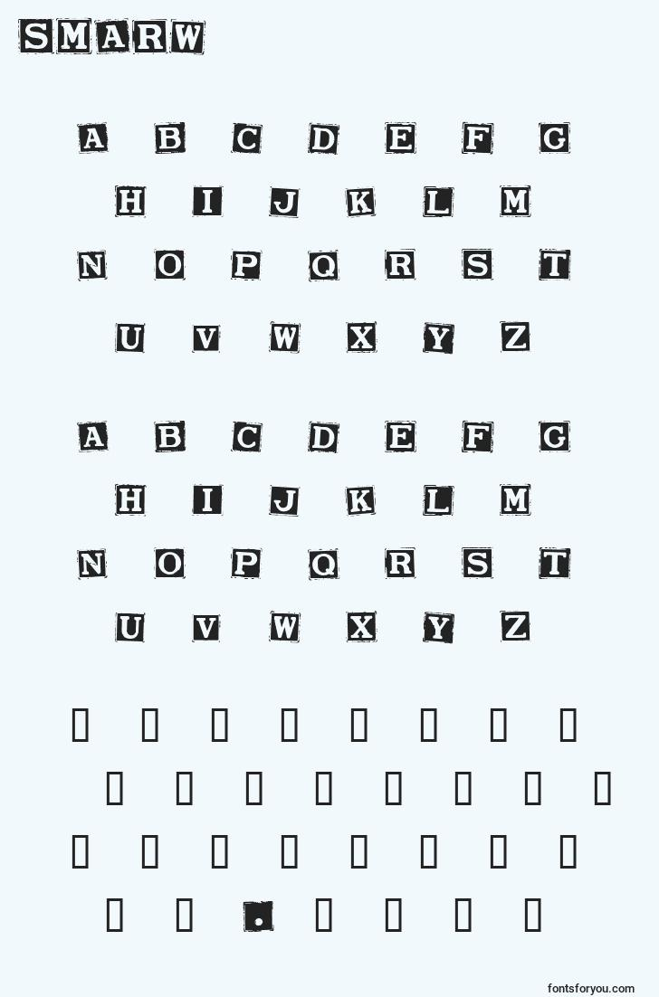 characters of smarw font, letter of smarw font, alphabet of  smarw font