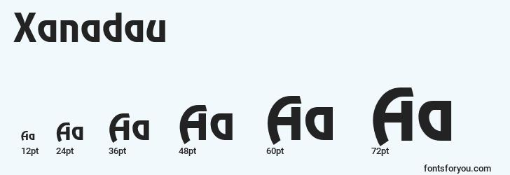sizes of xanadau font, xanadau sizes