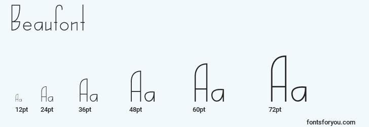 sizes of beaufont font, beaufont sizes