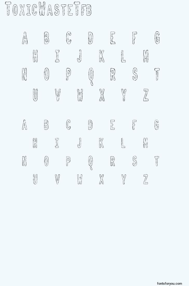 characters of toxicwastetfb font, letter of toxicwastetfb font, alphabet of  toxicwastetfb font