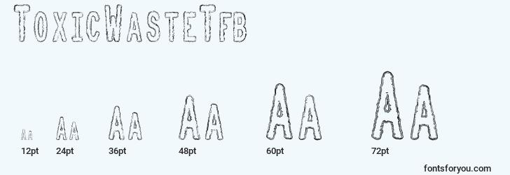 sizes of toxicwastetfb font, toxicwastetfb sizes