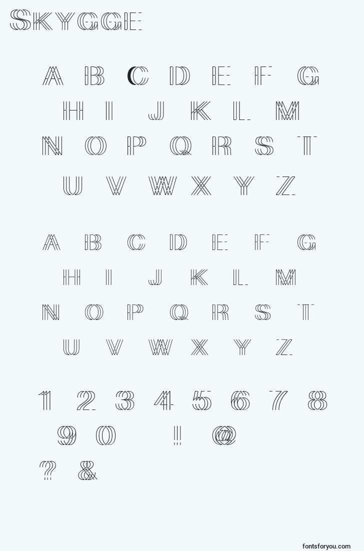 characters of skygge font, letter of skygge font, alphabet of  skygge font